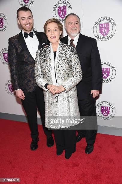 Singer Sam Smith event honoree Julie Andrews and surgical innovator Dr Steven Marc Zeitelsattends the Raise Your Voice concert honoring Julie Andrews...