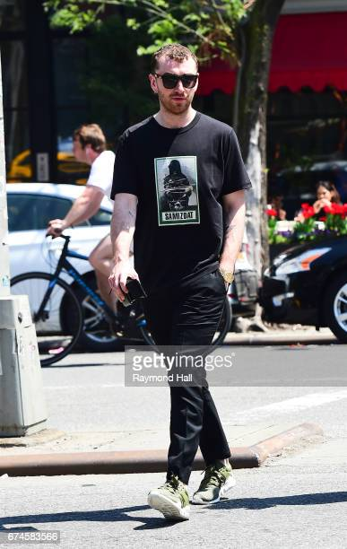 Singer Sam Smith is seen on April 28 2017 in New York City