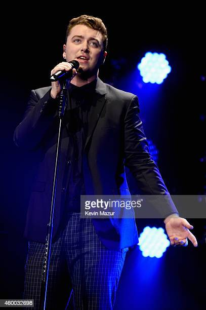 Singer Sam Smith onstage during KIIS FM's Jingle Ball 2014 powered by LINE at Staples Center on December 5 2014 in Los Angeles California