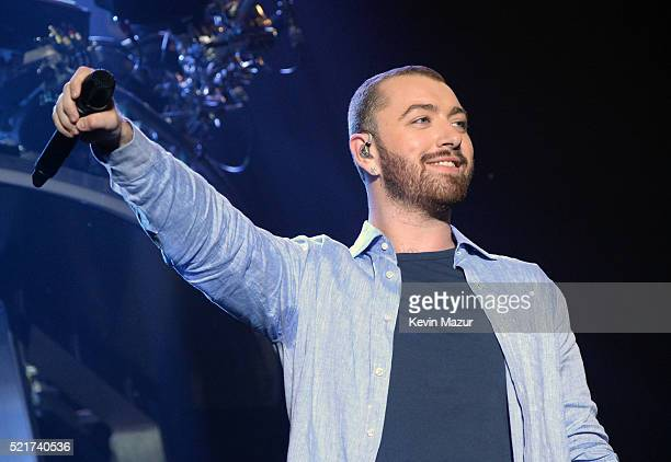 Singer Sam Smith perform onstage with Disclosure during day 2 of the 2016 Coachella Valley Music Arts Festival Weekend 1 at the Empire Polo Club on...