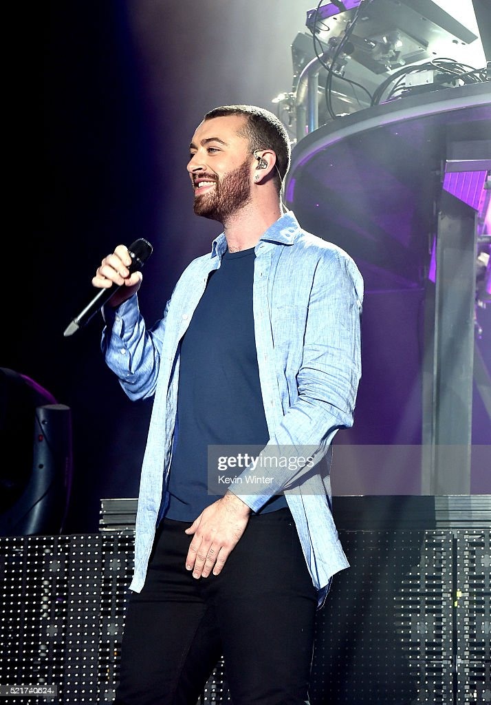 Singer Sam Smith perform onstage with Disclosure during day 2 of the 2016 Coachella Valley Music & Arts Festival Weekend 1 at the Empire Polo Club on April 16, 2016 in Indio, California.