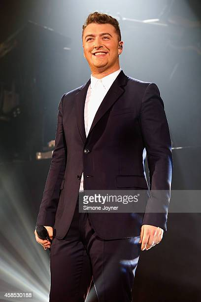 Singer Sam Smith performs live on stage at Hammersmith Apollo on November 6 2014 in London England