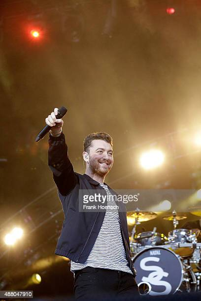Singer Sam Smith performs live on stage during the second day of the Lollapalooza Berlin music festival at Tempelhof Airport on September 13 2015 in...