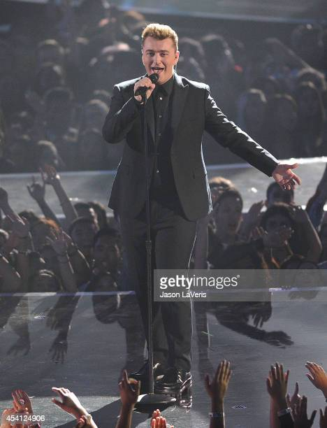 Singer Sam Smith performs onstage at the 2014 MTV Video Music Awards at The Forum on August 24 2014 in Inglewood California