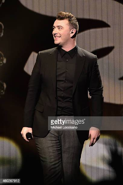 Singer Sam Smith performs onstage at the Q102's Jingle Ball 2014 at Wells Fargo Center on December 10 2014 in Philadelphia Pennsylvania