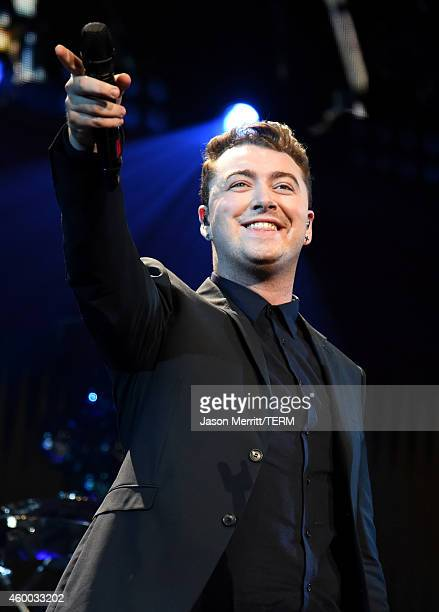 Singer Sam Smith performs onstage during KIIS FM's Jingle Ball 2014 powered by LINE at Staples Center on December 5 2014 in Los Angeles California