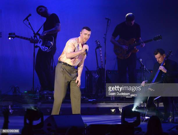 Singer Sam Smith performs onstage during the 5th annual We Can Survive benefit concert presented by CBS Radio at the Hollywood Bowl on October 21...