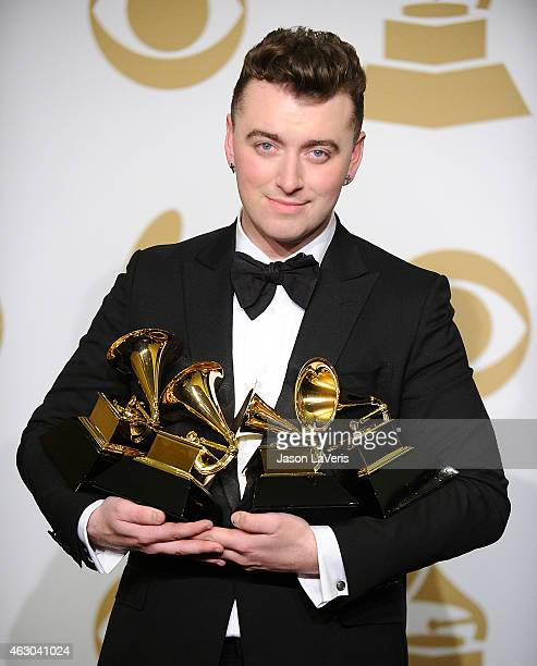 Singer Sam Smith poses in the press room at the 57th GRAMMY Awards at Staples Center on February 8 2015 in Los Angeles California