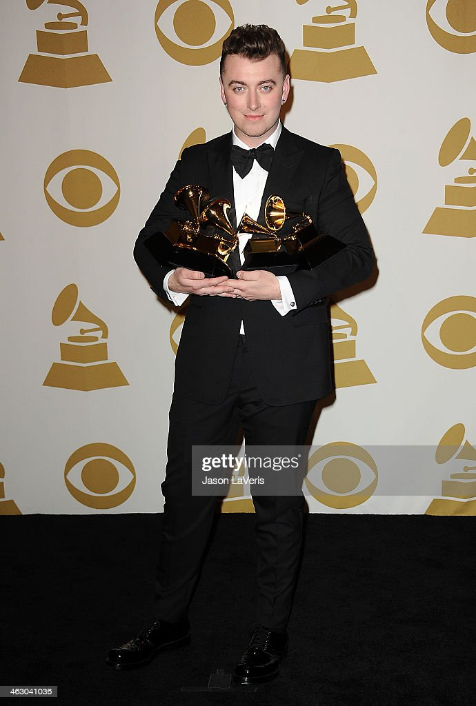 Singer Sam Smith poses in the press room at the 57th GRAMMY Awards at Staples Center on February 8, 2015 in Los Angeles, California.