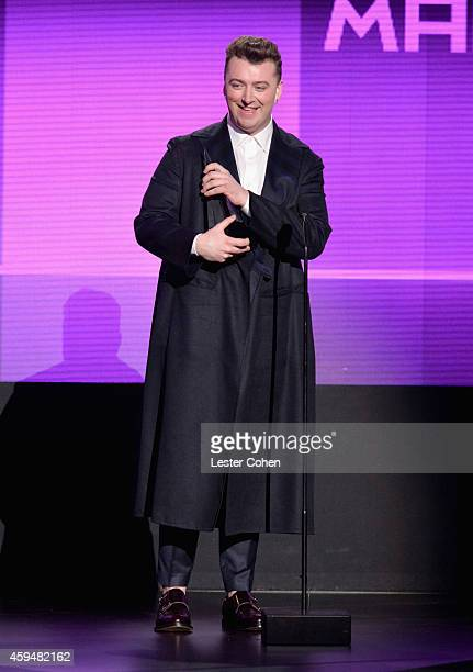 Singer Sam Smith speaks onstage at the 2014 American Music Awards at Nokia Theatre LA Live on November 23 2014 in Los Angeles California