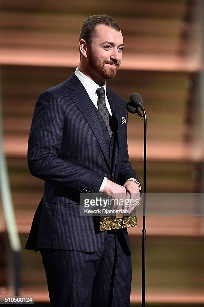 Singer Sam Smith speaks onstage during The 58th GRAMMY Awards at Staples Center on February 15 2016 in Los Angeles California
