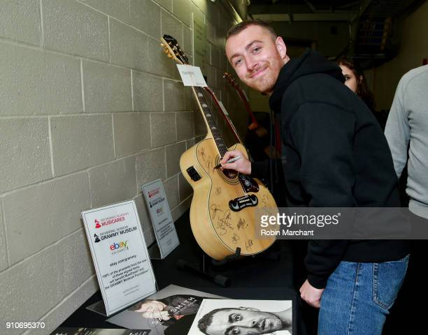 Singer Sam Smith with the GRAMMY Charities Signings during the 60th Annual GRAMMY Awards at Madison Square Garden on January 26 2018 in New York City