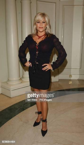 Singer Samantha Fox arrives for the Sony Radio Awards 2003 at Le Meridien Grosvenor House Hotel in London