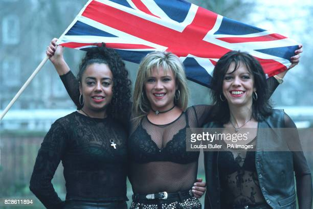 Singer Samantha Fox with members of her band Sox Cris Bonacci and Lauraine Mckintosh launch their bid for the 1995 Eurovision song contest in London