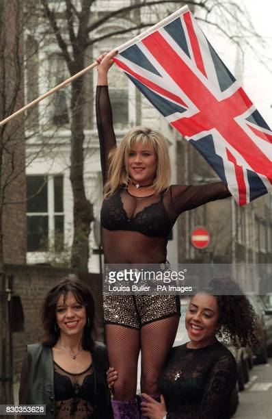 Singer Samantha Fox with members of her band Sox Cris Bonacci and Lauraine McKintosh as they launch their bid for the 1995 Eurovision Song Contest in...