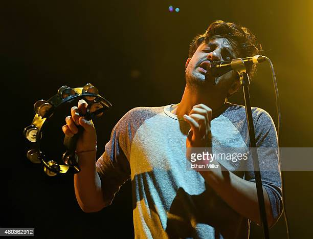 Singer Sameer Gadhia of Young the Giant performs during X1075's Holiday Havoc 2014 show at The Joint inside the Hard Rock Hotel Casino on December 11...