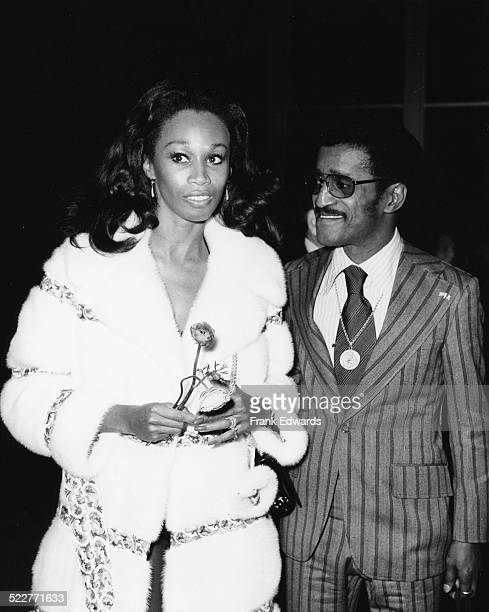 Singer Sammy Davis Jr and his wife Altovise attending the opening night of Juliet Prowse at the Cocoanut Grove Los Angeles February 1972