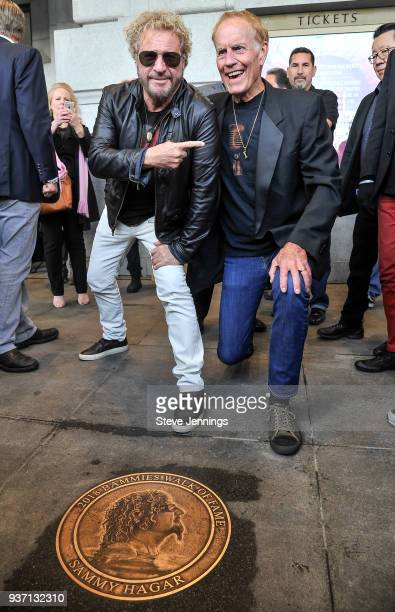 Singer Sammy Hagar and DJ Steven Seaweed attend their induction into the 2018 'Bammies Walk of Fame' at Bill Graham Civic Auditorium on March 23 2018...