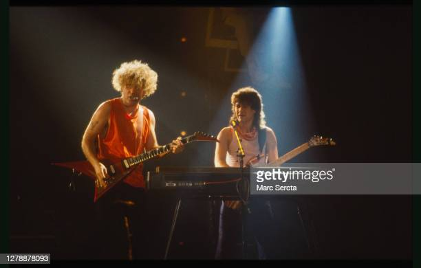 Singer Sammy Hagar and Guitarist Eddie Van Halen and the band Van Halen perform at the Hollywood Sportatorium Circa 1984 in Hollywood, Florida.