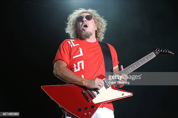 Singer Sammy Hagar of Chickenfoot performs during the Sammy Hagar Belated Birthday Bash at the Downtown Las Vegas Events Center on October 18 2014 in...