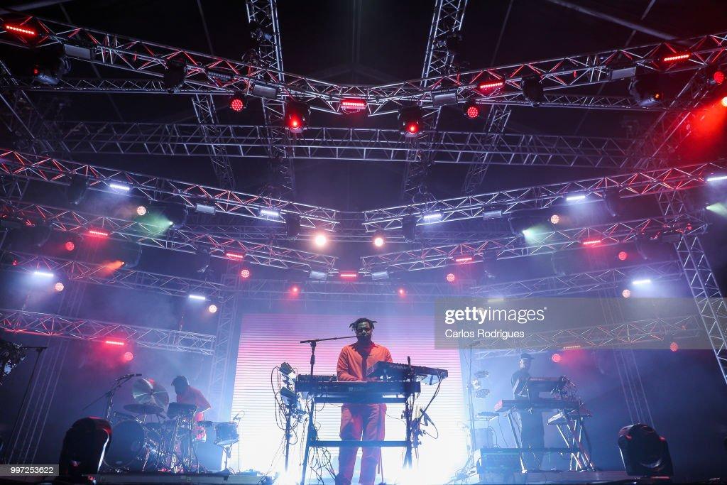 Singer Sampha performs during Day 1 of NOS Alive Festival 2018 on July 12, 2018 in Lisbon, Portugal.