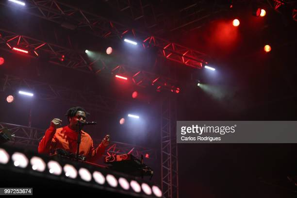 Singer Sampha performs during Day 1 of NOS Alive Festival 2018 on July 12 2018 in Lisbon Portugal
