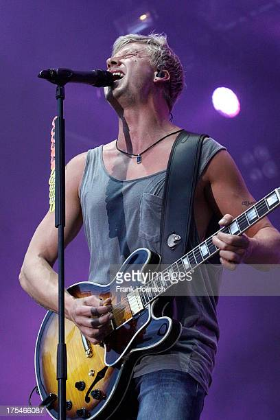 Singer Samu Haber of Sunrise Avenue performs live during the rs2 Sommerfestival at the Kindlbuehne Wuhlheide on August 3 2013 in Berlin Germany