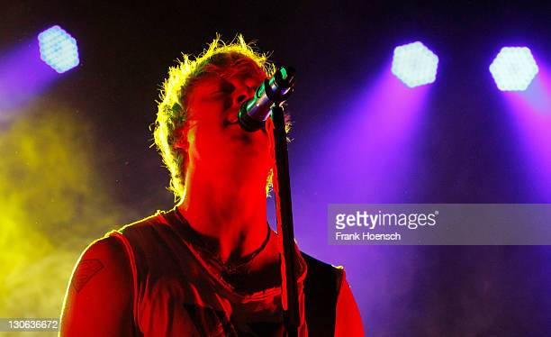 Singer Samu Haber of the band Sunrise Avenue performs live during a concert at the Columbiahalle on October 27 2011 in Berlin Germany