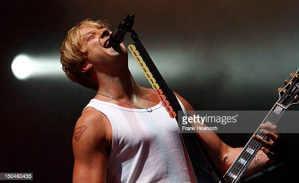 Singer Samu Haber of the band Sunrise Avenue performs live during the rs2 Summer Festival at Wuhlheide on August 18 2012 in Berlin Germany