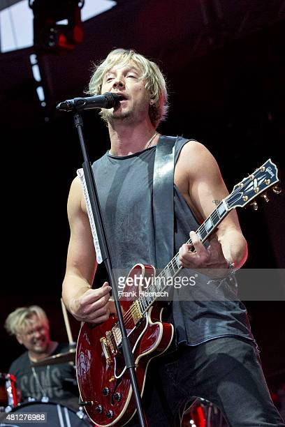 Singer Samu Haber of the Finnish band Sunrise Avenue performs live during a concert at the Kindlbuehne Wuhlheide on July 18 2015 in Berlin Germany