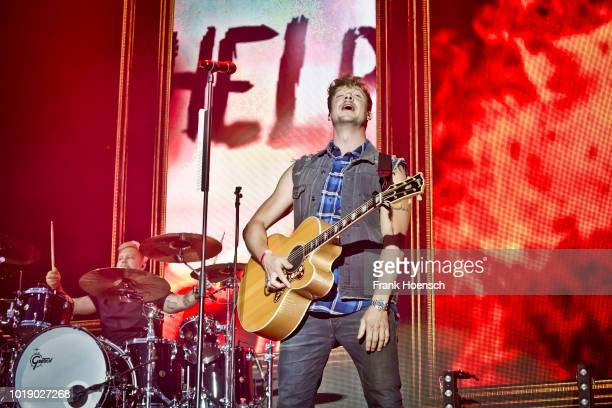 Singer Samu Haber of the Finnish band Sunrise Avenue performs live on stage during the Festival Stars For Free at the Kindlbuehne Wuhlheide on August...
