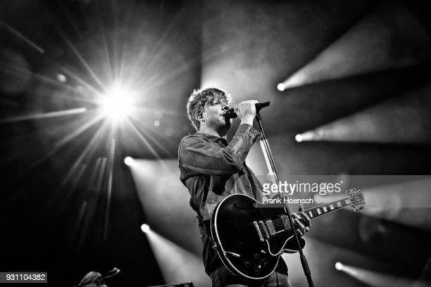 Singer Samu Haber of the Finnish band Sunrise Avenue performs live on stage during a concert at the MercedesBenz Arena on March 12 2018 in Berlin...