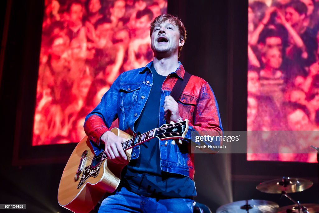 Singer Samu Haber of the Finnish band Sunrise Avenue performs live on stage during a concert at the Mercedes-Benz Arena on March 12, 2018 in Berlin, Germany.
