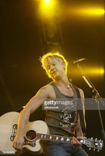 Singer Samu Haber of the Finnish band Sunrise Avenue performs live during the RTL Stars For Free Open Air at the Kindl Buehne Wuhlheide September 1...