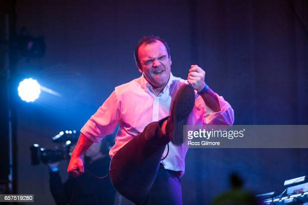 Singer Samuel Herring of the American band Future Islands performs at the O2 Academy as part of the BBC Radio 6 Music Festival Day one on March 24...