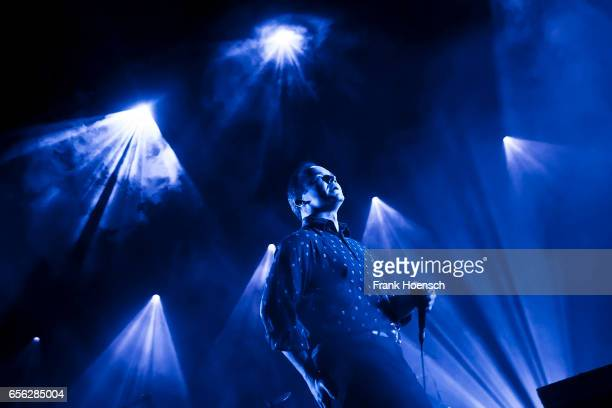 Singer Samuel Herring of the American band Future Islands performs live during a concert at the Columbiahalle on March 21 2017 in Berlin Germany