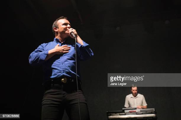 Singer Samuel T Herring of Future Islands performs live on stage during a concert at the Columbiahalle on June 9 2018 in Berlin Germany