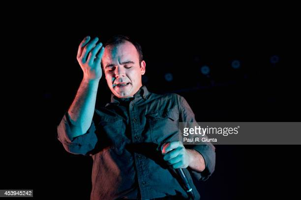 Singer Samuel T Herring of Future Islands performs onstage at the Fonda Theater on August 21 2014 in Los Angeles California