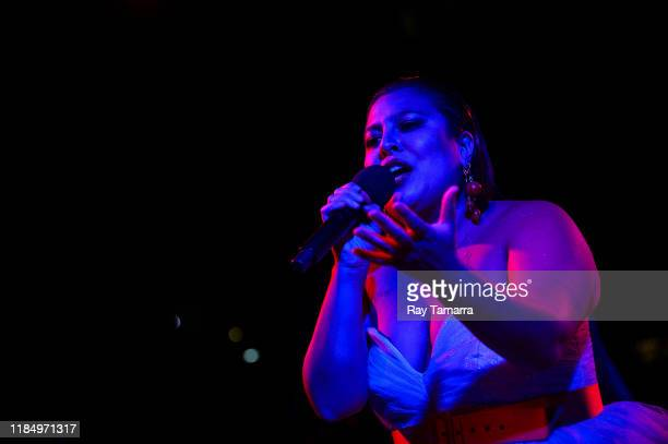"""Singer San Cha performs at the """"Selena For Sanctuary"""" concert at Los Angeles Grand Park on November 01, 2019 in Los Angeles, California."""