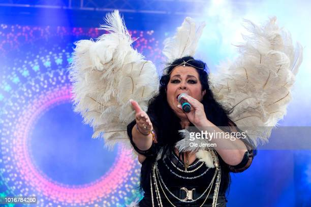 Singer Sanda Amanda performs on the main Pride Stage at Copenhagen Pride Week 2018 at the City Hall Square renamed Pride Square on August 14 2018 in...
