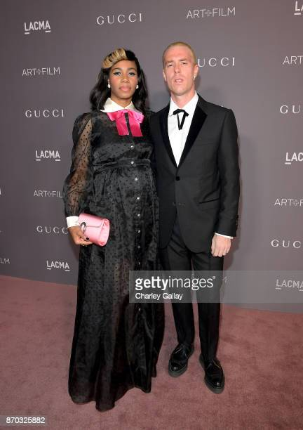 Singer Santigold and artist Trevor Andrew both wearing Gucci attend the 2017 LACMA Art Film Gala Honoring Mark Bradford and George Lucas presented by...
