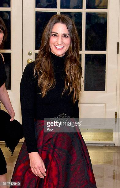 Singer Sara Bareilles arrives for the State Dinner at the White House March 10 2016 in Washington DC Hosted by President and First Lady Obama the...