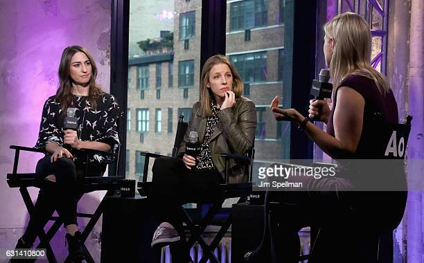 Singer Sara Bareilles Jessie Mueller and Laura Heywood attend the Build series to discuss Waitress at AOL HQ on January 10 2017 in New York City
