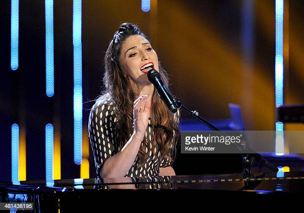 Singer Sara Bareilles performs onstage at The 40th Annual People's Choice Awards at Nokia Theatre LA Live on January 8 2014 in Los Angeles California