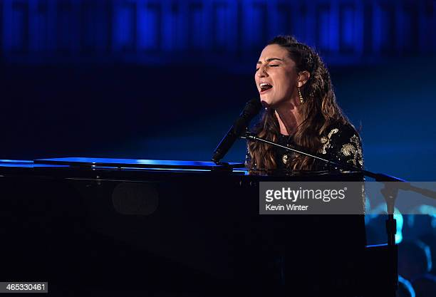 Singer Sara Bareilles performs onstage during the 56th GRAMMY Awards at Staples Center on January 26 2014 in Los Angeles California