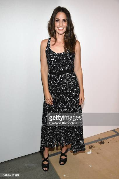 Singer Sara Bareilles poses backstage at Michael Kors Collection Spring 2018 Runway Show at Spring Studios on September 13 2017 in New York City