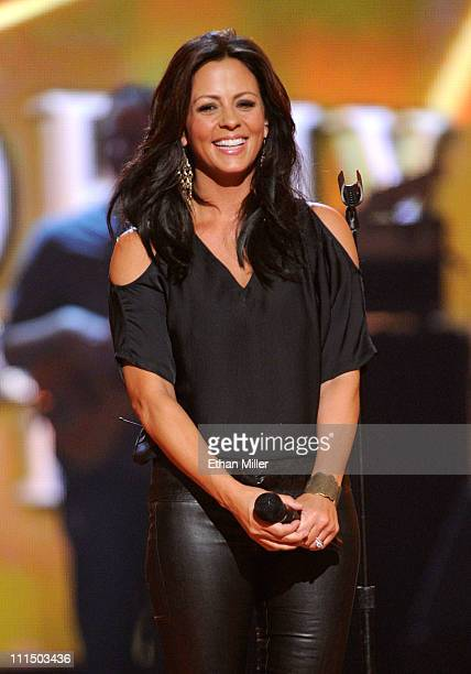 Singer Sara Evans performs onstage at the 46th Annual Academy of Country Music Awards held at the MGM Grand Garden Arena on April 3 2011 in Las Vegas...