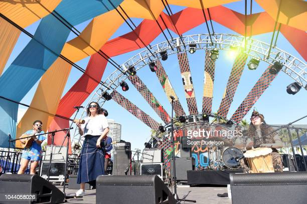Singer Sara Lucas of the band LADAMA peform onstage during day 2 of Music Tastes Good Festival at Marina Green Park on September 30 2018 in Long...