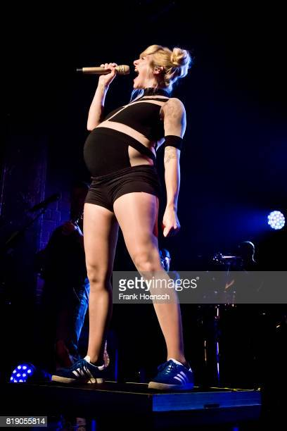 Singer Sarah Blackwood of the American band Walk off the Earth performs live on stage during a concert at the Astra on July 19 2017 in Berlin Germany
