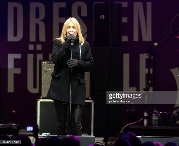 Singer Sarah Connor on stage at a concert for cosmopolitanism and tolerance at the Neumarkt in DresdenGermany 26 January 2015 The city of Dresden is...